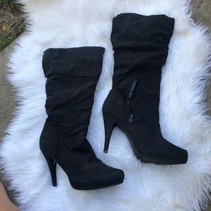 Elle black heeled boots